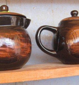 Заварочный чайник,кружки,горшочек для специй