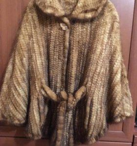 Пончо из вязаной норки