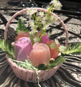 Корзиночка роз из мыла! Красивая композиция розы!