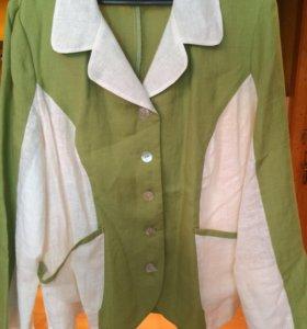Нарядный костюм из натурального льна зеленое яблок