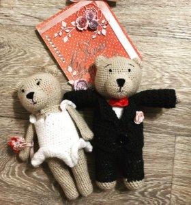 Комплект. Свадебные мишки и открытка.