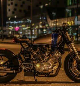 Мотоцикл Yamaha xv 750 custom переделка cafe racer