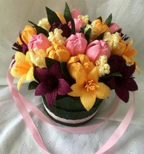 Коробочки из цветов и конфет