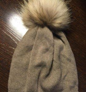 Новая шапка с натуральным помпоном