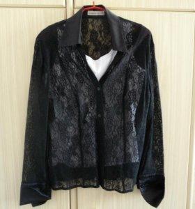 Гипюровая черная блуза