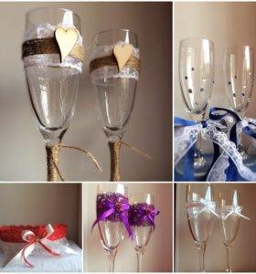 Свадебные аксессуары, подвязка, бокалы