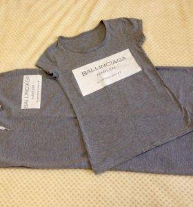Юбка и футболка хлопковый костюм 42 размера