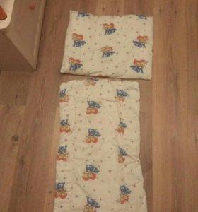 Шерстяные матрасик и подушка в коляску