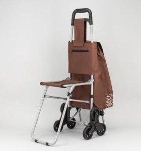 Сумка-тележка хозяйственная на колесах с сиденьем