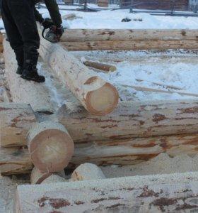 Сруб в чашу 7.8х8.6м 4 стены зимняя рубка