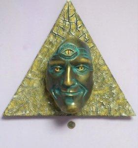Маска на стену панно декор сувенир Третий Глаз