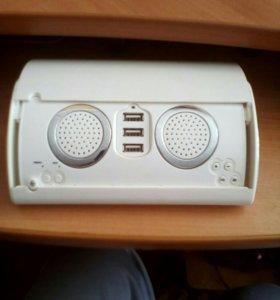 Хаб на 3 USB+стерео колонка+FM радио