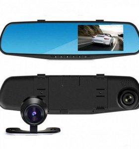 Зеркало, видеорегистратор с двумя камерами.