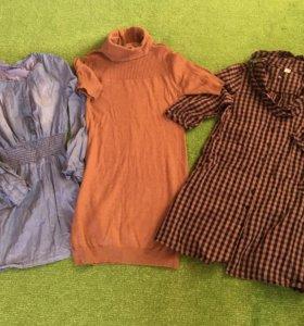 Платье джинсовое, трикотажное, платье-рубашка