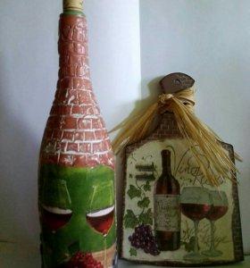 Декоративная бутылочка и досточка