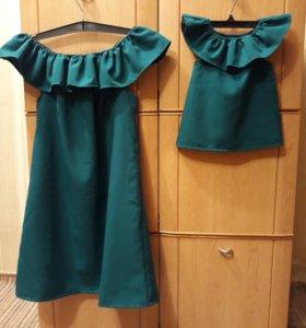 Новое!!! Платье мама+ дочь, 42-44 1-2 год