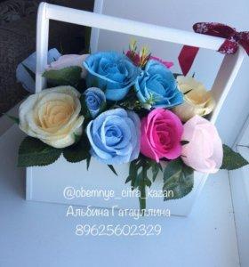 Цветы в ящике, ручная работа, декор интерьера
