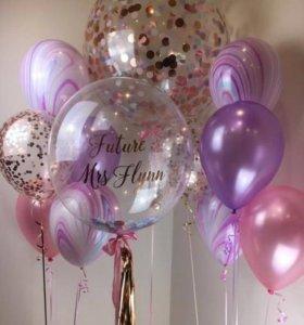 Воздушные шарики с блёстками и конфетти🎈Гелий💯