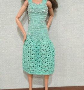 Вязаное платье для Барби