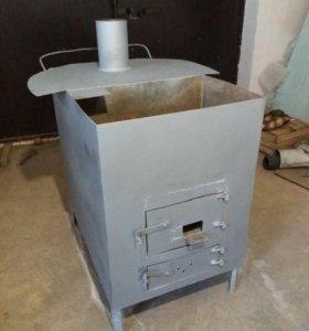 Печь, буржуйка для дома и бани (газ-дрова)