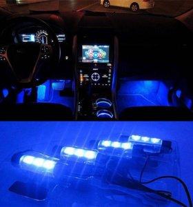 Синяя подсветка салона на авто