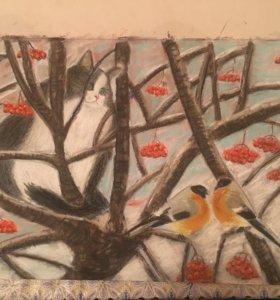 Картина сухая пастель «Снегири»