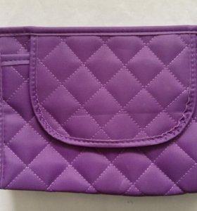 Фиолетовая косметичка с зеркалом