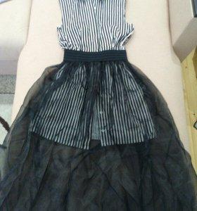 Платье рубашка с юбкой из органзы.Одето пару раз.