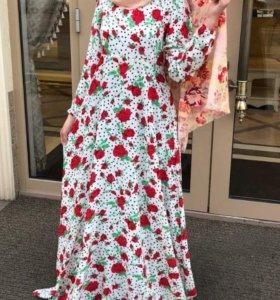 Розочки и горох платье хиджаб