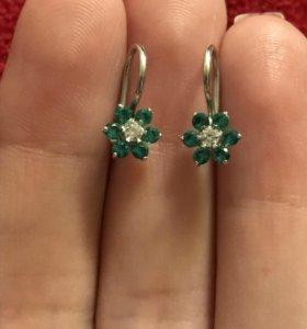 Детские серебряные серьги + кольцо