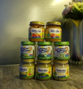 Детское питание (овощные пюре Bebivita и Агуша)