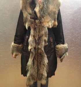 Куртка с натуральным мехом волка