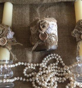 Набор свечей в рустикальном стиле