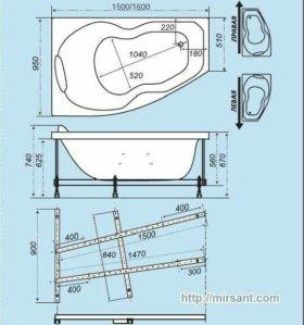 Ванна 150-95 правый угол