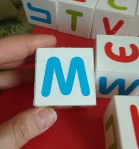 Кубики деревянные с буквами