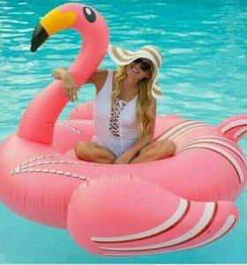 Надувные розовые фламинго для пляжа + Подарок!