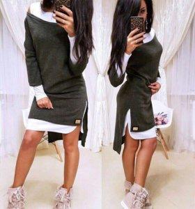 Платье с туникой новое