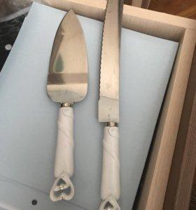 Нож с лопаткой для свадебного торта