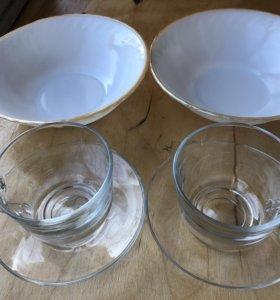 Две чашки + две тарелки