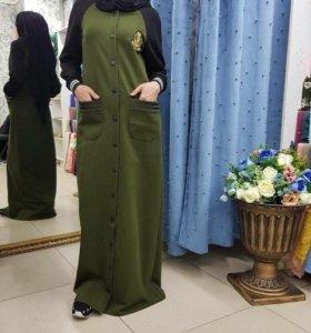 Платье бомпер хиджаб хаки