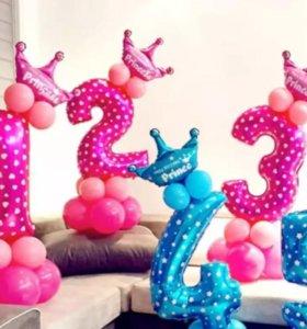 Надувная цифра 2 с шариками