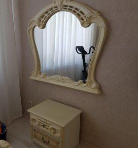Зеркало с тумбой и каркас кровати