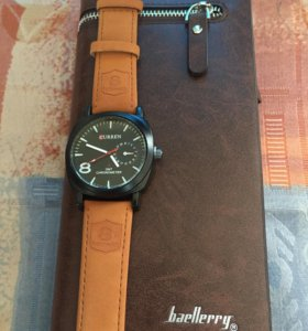 Часы curren + кошелёк baellerry комплект 2