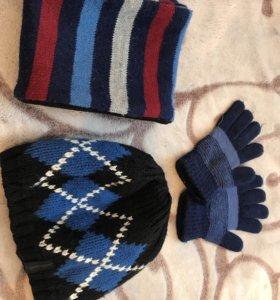 Шапка шарф и перчатки