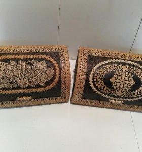 Хлебницы из бересты, с изображениям ручной работы.