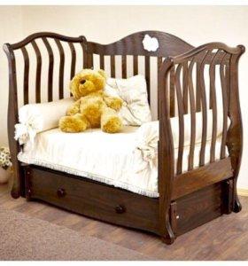 детская кроватка с ортопедическим матрасом!!!