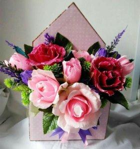 Сладкое цветочные письмо 😊 букет из конфет