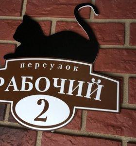 Адресная табличка с котом на колонну