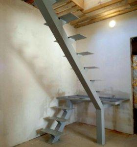 Лестницы на металлокаркасе любые