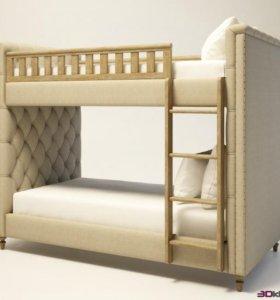 Детская двухъярусная кровать с каретной стяжкой